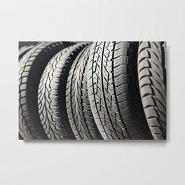 used black tires in row Metal Print