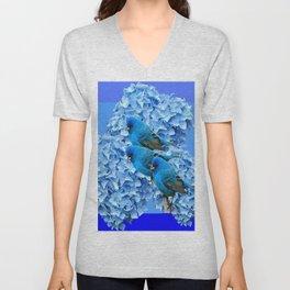 3 BLUE BIRDS & BLUE HYDRANGEAS ART Unisex V-Neck