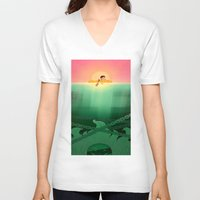 jaws V-neck T-shirts featuring JAWS by hyasinths