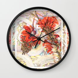 Coral Flowers Watercolor Floral Painting in Red and Orange Wall Clock