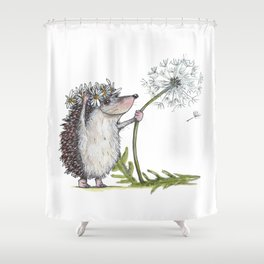 Hedgehog & Dandelion Shower Curtain