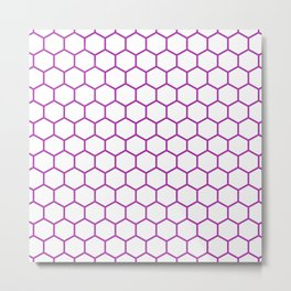 Honeycomb (Purple & White Pattern) Metal Print