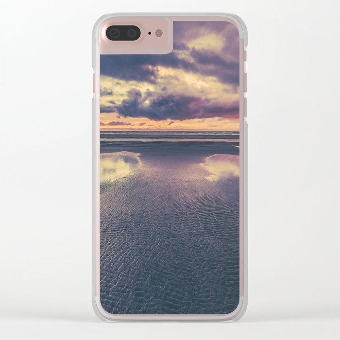Stormy Beach Sunset Clear iPhone Case