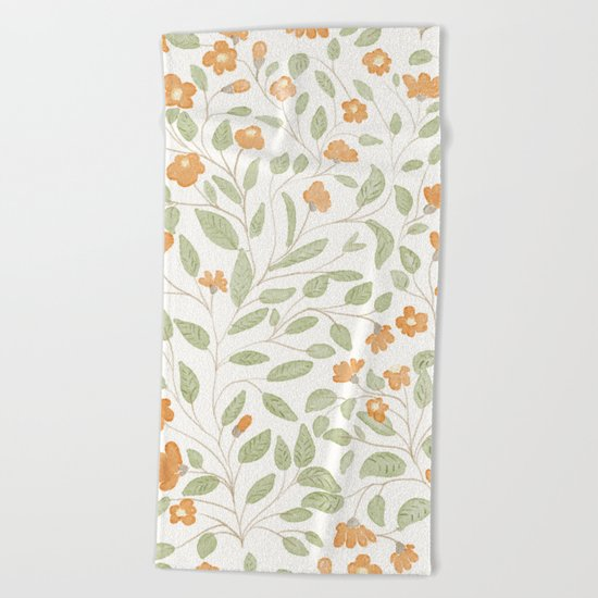 Spring Orange Floral Pattern Beach Towel