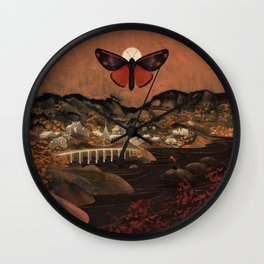 Cinnabar Moth Samurai Sunset Wall Clock