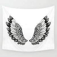 angel wings Wall Tapestries featuring wings by Li-Bro