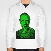 steve jobs Hoodies featuring Steve Jobs green by Rebecca Bear