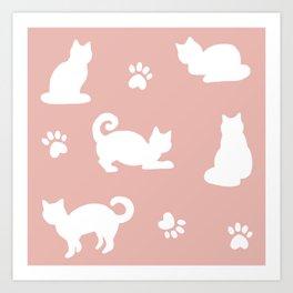 White Cats on Rose Gold Pattern Art Print