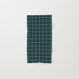 Small Grid Pattern - Green Tinted Navy Blue Hand & Bath Towel