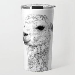 Black and white llama animal portrait Travel Mug