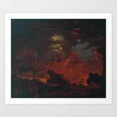 John Martin 1789–1854   The Fallen Angels Entering Pandemonium, from 'Paradise Lost', Book 1 Art Print