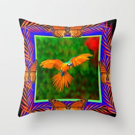 Tropical Butterfly Golden Flying Macaw Blue-Black Art Throw Pillow