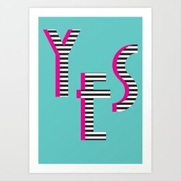 YES Poster | Mint Stripe Pattern Art Print