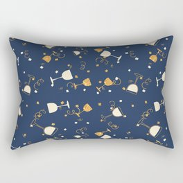 Chic navy blue faux gold glitter party time Rectangular Pillow