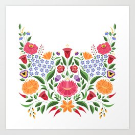 Hungarian folk pattern – Kalocsa embroidery flowers Art Print