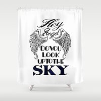 larry Shower Curtains featuring Hey Angel (Larry Stylinson) by Arabella