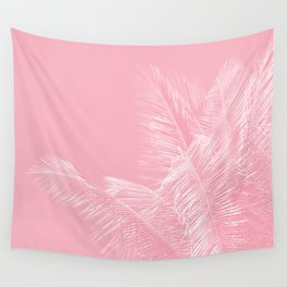 Millennial Pink illumination of Heart White Tropical Palm Hawaii Wall Tapestry
