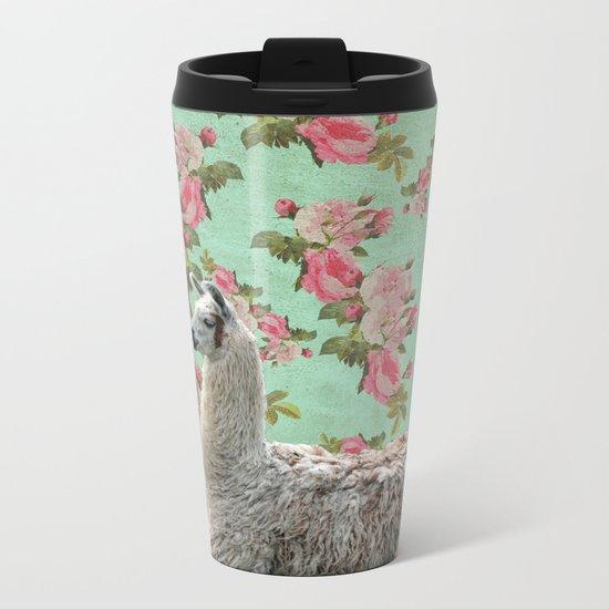 Floral Llama Metal Travel Mug