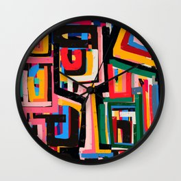 Neo Cubism Abstract Art Pattern Mystic Wall Clock