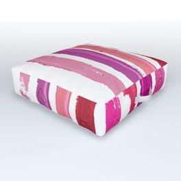 Lipstick Stripes - Floral Fuschia Red Outdoor Floor Cushion