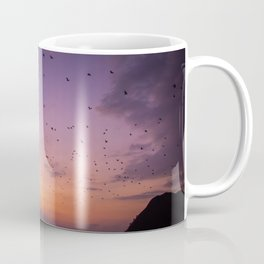 The Migration | Nature Landscape Photography of Fruit Bats Flying Over Ocean Sunset in Indonesia Coffee Mug