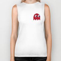 pac man Biker Tanks featuring Pac-Man Red Ghost by Psocy Shop