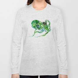 Beach art, green Octopus, sea world, aquatic nautical octopus art Long Sleeve T-shirt