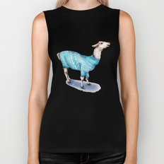 Llama in a Blue Sweater Biker Tank