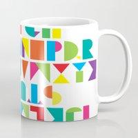 alphabet Mugs featuring Alphabet by Rachel Lee