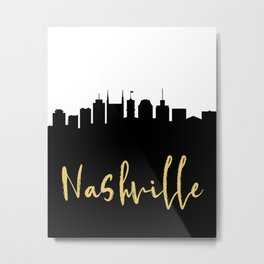 NASHVILLE TENNESSEE DESIGNER SILHOUETTE SKYLINE ART Metal Print