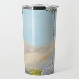 Afternoon on the Hill Birch Tree Painting Travel Mug