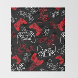 Video Games Red on Black Throw Blanket