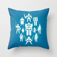 heroes Throw Pillows featuring Plastic Heroes by powerpig