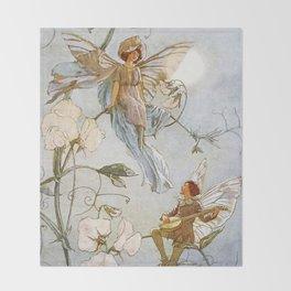 """Fairies Mid Sweet Peas"" by Margaret Tarrant Throw Blanket"