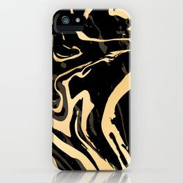 Liquid black and gold marble. Trendy golden ink marbling texture. Suminagashi art. iPhone Case