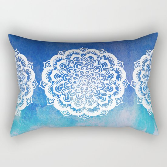 White Floral Medallion on Indigo & Turquoise Watercolor Rectangular Pillow