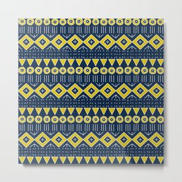 Mudcloth Style 2 in Navy Blue and Yellow Metal Print