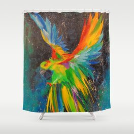 Parrot in flight Shower Curtain
