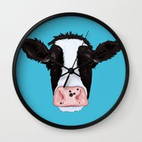 cow Wall Clocks featuring Cow by Compassion Collective