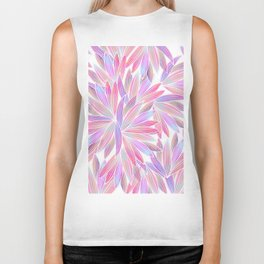 Trendy girly pink lavender coral watercolor floral Biker Tank