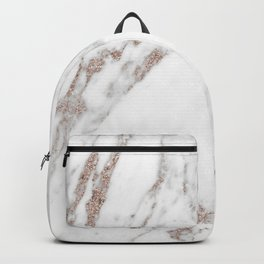 Rose gold shimmer vein marble Backpack