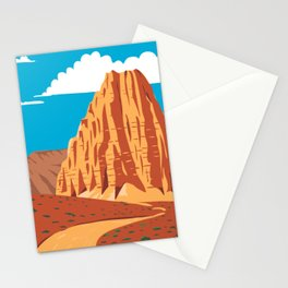 Cathedral Valley Loop in Capitol Reef National Park South-Central Utah United States WPA Poster Art Color Stationery Cards