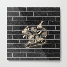 The Ride of their Life | Vintage Rabbits & Cat on bicycle black bricks wall Metal Print