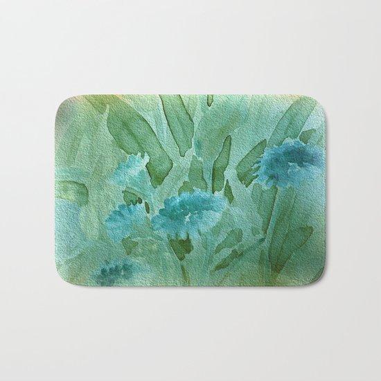 Soft Elegant Watercolor Floral - Blue Bath Mat