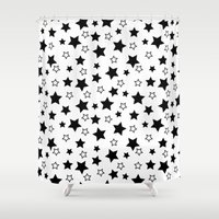 arya stark Shower Curtains featuring Stark Stars by SonyaDeHart