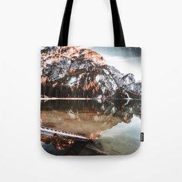 braies lake in Trentino Tote Bag