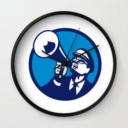 Nerd Shouting Megaphone Circle Retro Wall Clock