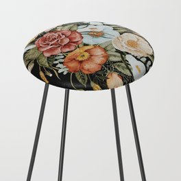 Roses and Poppies Bouquet on Charcoal Black Counter Stool