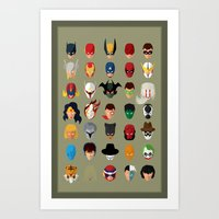superheroes Art Prints featuring SuperHeroes by Luca Giobbe