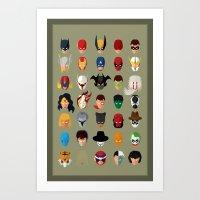 superheroes Art Prints featuring SuperHeroes by Luca Giobbe